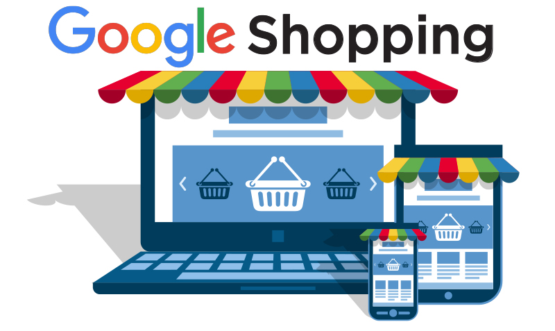 google shopping icon with computer, tablet and phone showing shopping carousel