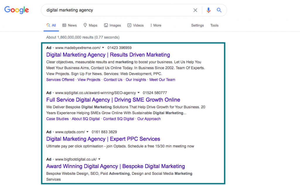 Screenshot of Google Ads for digital marketing search term