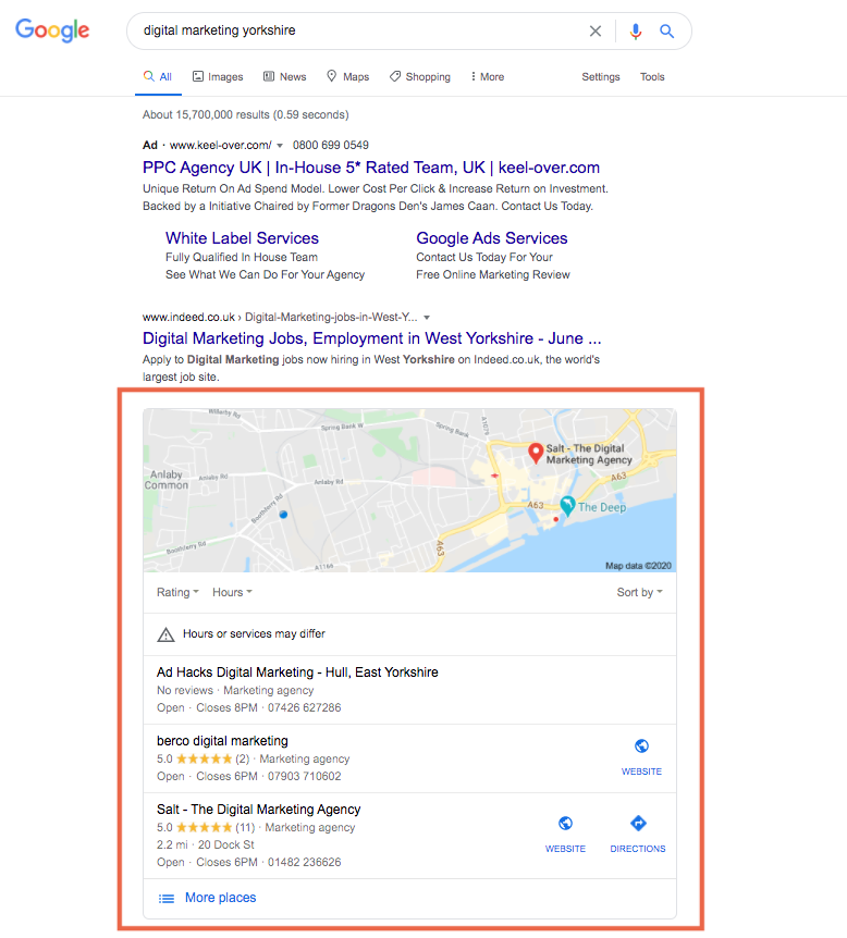 Search results page showing the google snack pack